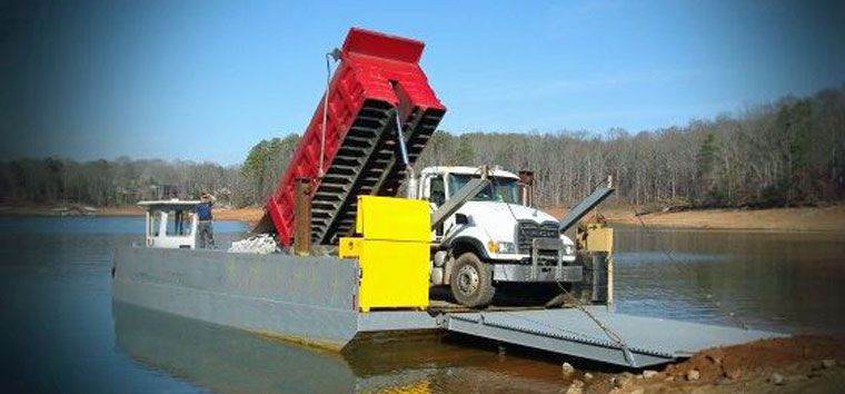 40' x 24' Work Bin Wall Barge With Ramp For Sale