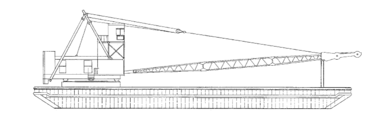 160' x 50' Inland Deck Crane Barge - Lift Capacity 45 Tons For Sale