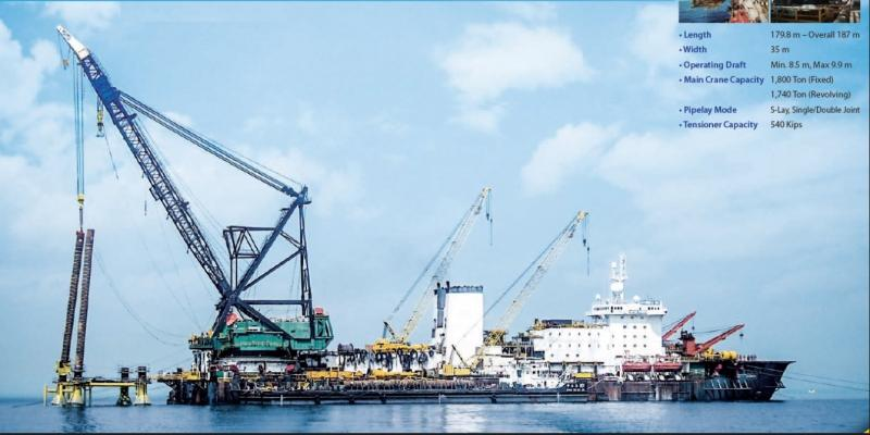 187m Self Propelled Pipelay Crane Barge For Sale