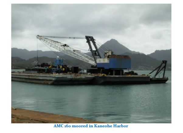 160' x 50' Deck Crane Barge 100 ton Rating And 4500 Manitowoc Crane For Sale