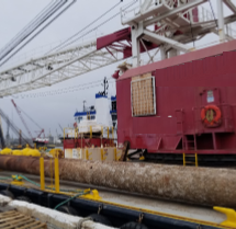 142' Spud Crane Barge Lifting Capacity 90 Tons For Sale