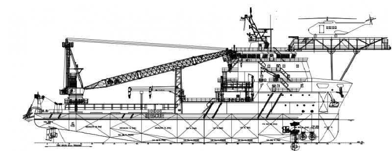 85m SSMV Sub Sea Maintenance Vessel 200 POB - Deck Crane 100 Tons For Sale