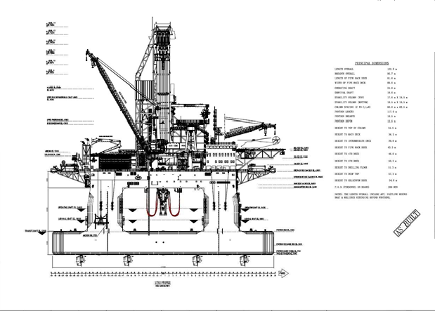 402' Semi Sub Double Derrick 7th Gen DP-3 Rig 2016 - Drill Depth 50000