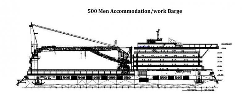 123m Accommodation 500 Man Work Barge - 300 ton Crane