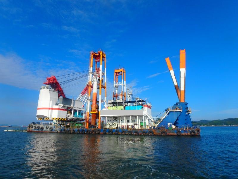 55m Piling Barge and Grab Dredger - 300t Crane Heavy Lift Vessel For Sale