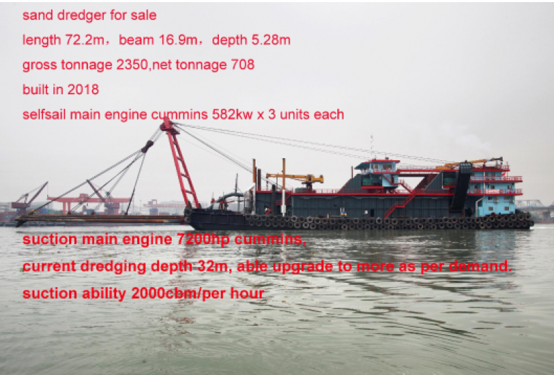 72m Sand Dredger - 2000 Cbm Capacity For Sale