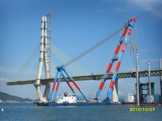 78m Floating Crane 2010 - Pontoon Crane Barge - 1200 TLC For Sale