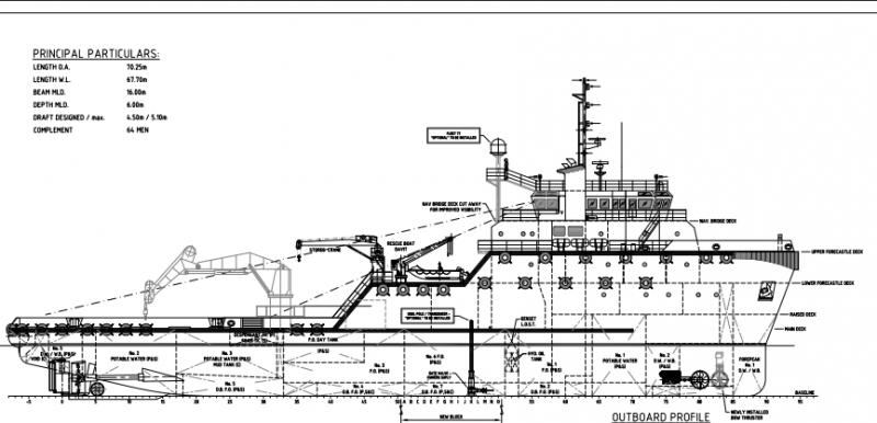 70m DP 2 MPSV Multi Purpose Support Vessel Moon Pool 2007 - DWT 2157 For Sale.