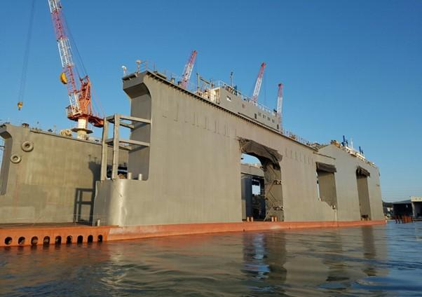 123m Floating Dry Dock 1986 - DWT Lift Capacity 10,000 Tons For Sale.