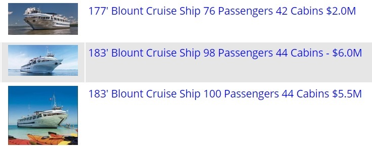 3 Blount Passenger Ships For Sale - Single or Enbloc